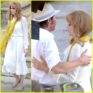 Angelina Jolie Goes Blonde, Embraces Brad Pitt for 'By