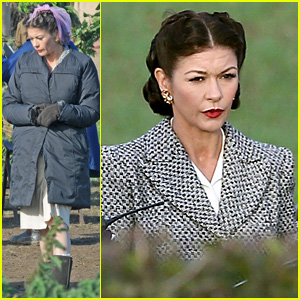 Catherine Zeta-Jones Wears Purple Hairnet for 'Dad's Army'