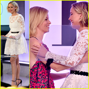 Jennifer Lawrence Introduces Honoree Elizabeth Banks at Elle Women in Hollyw