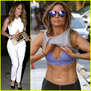 Jennifer Lopez Flaunts Super Toned Abs While Hitting the Gym