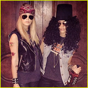Jessica Alba Goes as Slash from Guns N' Roses for Halloween!