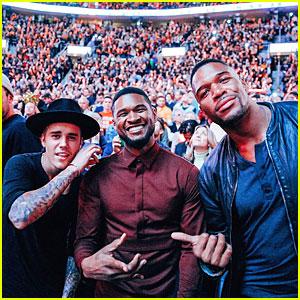 Justin Bieber & Usher Hang Out at LeBron James' Homecoming Game