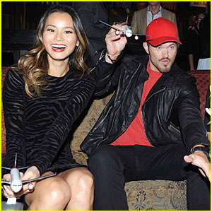 Kellan Lutz & Jamie Chung Celebrate First Virgin America Flights at Dallas Love Field