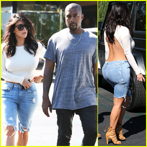 Kim Kardashian Wears Open-Back Shirt for Sunday Date with