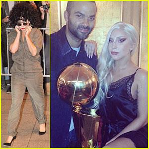 Lady Gaga & Tony Parker Talk NBA Championship Basketball In Berlin