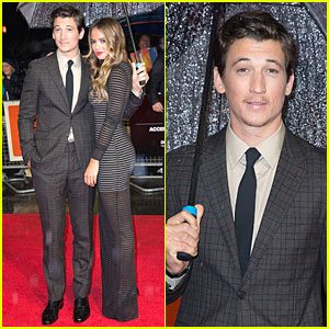 Miles Teller & Girlfriend Keleigh Sperry Fight Rain at 'Whiplash' BFI Premiere