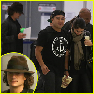 Orlando Bloom & Selena Gomez Walk Just Steps Apart From Each Other