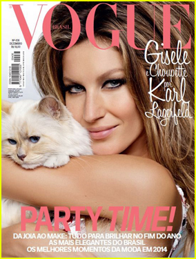 Gisele Bundchen & Karl Lagerfield's Cat Choupette Take the Spotlight on 'Vogue Brazil' December 2014 Cover