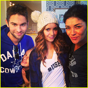 Nina Dobrev, Chace Crawford, & Jessica Szohr Buddy Up to Root for the Cowboys!