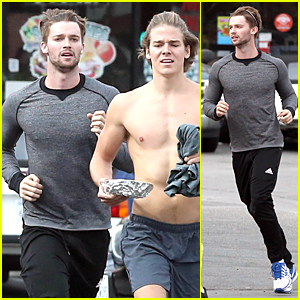 Patrick Schwarzenegger Gets His Heart Pumping During Jog With Shirtless Friend