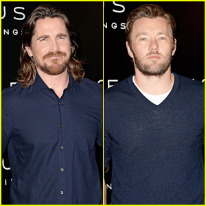 Christian Bale & Joel Edgerton Rock Matching Navy Outfits for 'Exodus: Gods and Kings' Paris Photo Call!