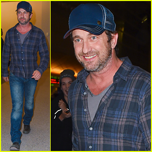 Gerard Butler Gets a Ride From His Girlfriend Morgan Brown at the Airport