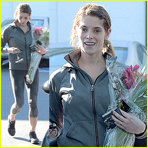 Ashley Greene Picks Up Fresh Flowers After Fitness Run