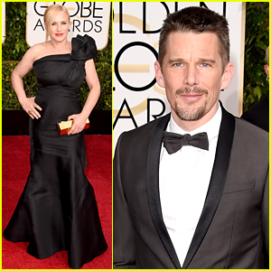 Boyhood's Patricia Arquette & Ethan Hawke Hit the Golden Globes 2015 Red Carpet
