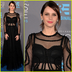 Felicity Jones is Chic in a Sheer Dress at Critics' Choice 2015