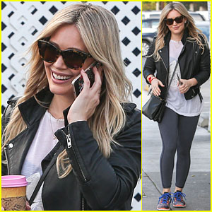 Hilary Duff Shows a Bit Of Edge in a Leather Jacket