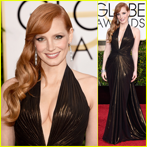 Jessica Chastain Rocks Shimmering Dress at the Golden Globes 2015!