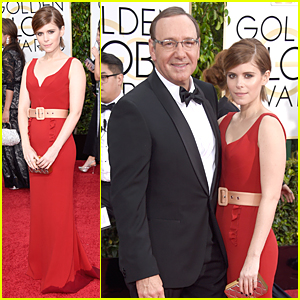 Kate Mara & Kevin Spacey Have 'House of Cards' Reunion on Golden Globes 2015 Red Carpet