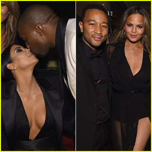 Kim Kardashian & Kanye West Pack on the PDA During John Legend's Birthday Party in NYC