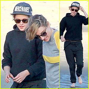 Kristen Stewart & Alicia Cargile Get Their Feet Wet at the Beach in Malibu