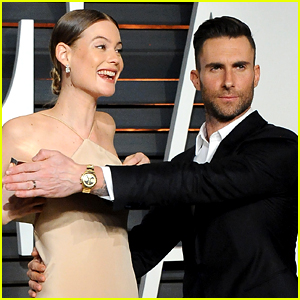 Adam Levine Hides Behati Prinsloo's Nip Slip at Oscars Party