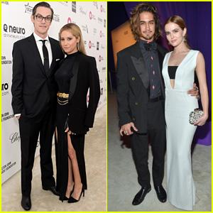 Ashley Tisdale & Zoey Deutch Couple Up With Their Guys for Elton John's Oscar Bash 2015