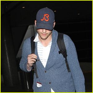 Ashton Kutcher Arrives Back in Los Angeles for Valentine's Day