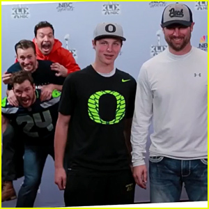 Chris Pratt & Chris Evans Photobomb Unsuspecting Fans at the Super Bowl - Watch Now!