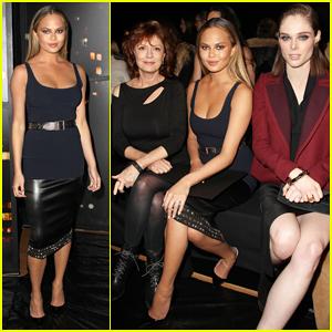 Chrissy Teigen Gets In-Between Susan Sarandon & Coco Rocha at Donna Karen's NYFW Show!