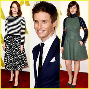 Emma Stone & Eddie Redmayne Celebrate Their Nominations at Oscars Luncheon 2015