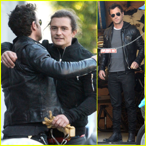 Justin Theroux & Orlando Bloom Meet Up & Bond Over Motorcycles at Deus Ex Machina!