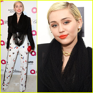 Miley Cyrus Hits Elton John's Oscars 2015 Viewing Party!