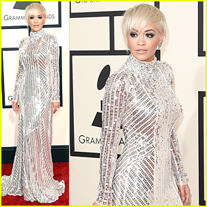 Rita Ora Shimmers Down The Red Carpet at Grammys 2015