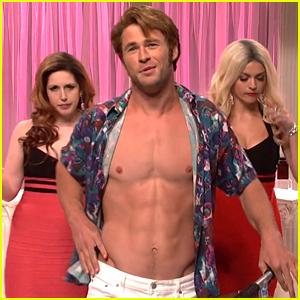 Chris Hemsworth Goes Shirtless for SNL's Porn Stars Sketch!