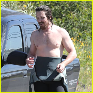 Christian Bale Shows Off His Shirtless Body at the Beach