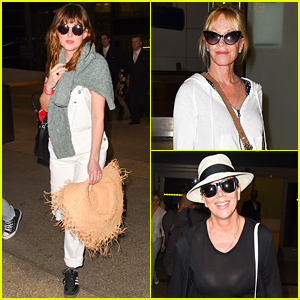 Dakota Johnson Returns From Mexico Vacation with Mom Melanie Griffith & Kris Jenner