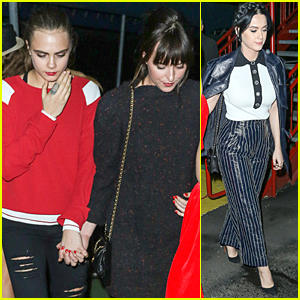 Dakota Johnson & Cara Delevingne Hold Hands at Karl Lagerfeld's Yacht Party