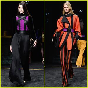Kendall Jenner & Karlie Kloss Add Pops of Purple to Balmain Fashion Show