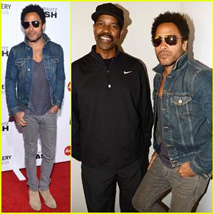 Lenny Kravitz Gets Support from Denzel Washington at 'Flash' Photo Exhibit Launch!