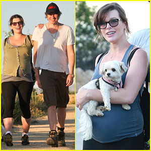 Pregnant Milla Jovovich Keeps Active with Husband Paul W.S. Anderson