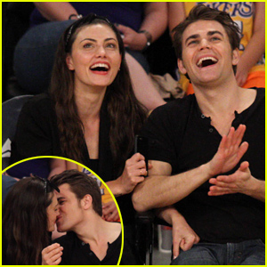 Paul Wesley & Phoebe Tonkin Kiss Courtside at the Lakers Game
