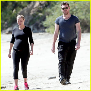 Sam Worthington & Pregnant Love Lara Bingle Spend a Romantic Day Together