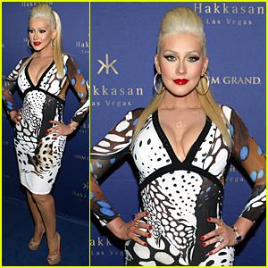 Christina Aguilera Busts Out of Her Dress at Hakkasan Celebration