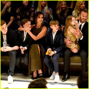 David & Victoria Beckham Bring Full Family to Burberry Show!