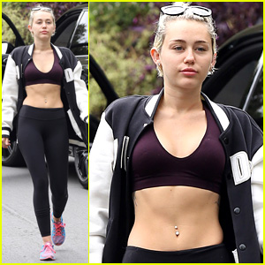 Miley Cyrus Flaunts Toned Abs in Black Sports Bra