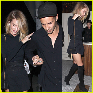 Rosie Huntington-Whiteley & Close Male Friend Hold Hands at Nice Guy Restaurant