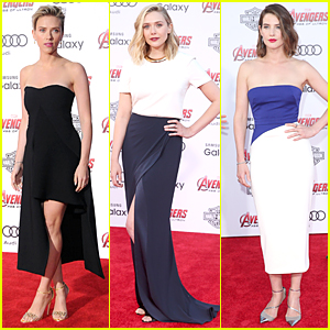Scarlett Johansson & Elizabeth Olsen Glam Up For 'Avengers: Age of Ultron' Premiere!