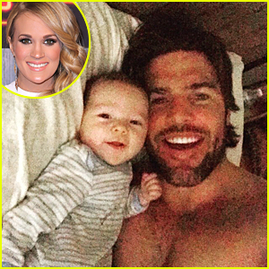 Carrie Underwood's Shirtless Husband Mike Fisher Cuddles With Son Isaiah