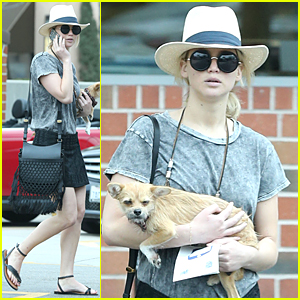 Jennifer Lawrence's Pet Pooch Looks Adorable & Sleepy at Rite-Aid