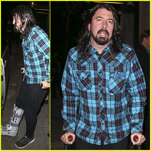 Dave Grohl Walks on Crutches After Injuring Leg in Concert